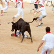 PAMPLONA, SPAIN - JULY 10: People having fun with young bulls at — Stockfoto #36484327