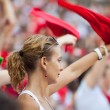 PAMPLONA, SPAIN-JULY 11: Woman having fun of San Fermin festival — Stock Photo