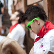 PAMPLONA, SPAIN-JULY 13: Young man sleeping in anticipation of s — Stockfoto
