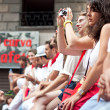 PAMPLONA, SPAIN - JULY 13: People await start of race of bulls a — Stock Photo #36484483