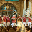Stock Photo: PAMPLONA, SPAIN-JULY 14: Brass Band at closing of SFermin fes