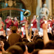Stock Photo: PAMPLONA, SPAIN-JULY 14: People with candles at closing of SF