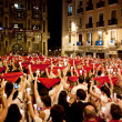 Stock fotografie: PAMPLONA, SPAIN-JULY 14: People with red handkerchiefs at closin