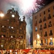 PAMPLONA, SPAIN-JULY 15: People look at fireworks at closing of — стоковое фото #36484633
