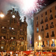 PAMPLONA, SPAIN-JULY 15: People look at fireworks at closing of — Stock Photo