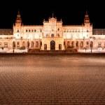 Spanish Square (Plaza de Espana) in Sevilla at night, Spain — Stock Photo