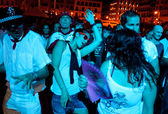 PAMPLONA, SPAIN - JULY 9: People dancing in square Castillo at S — Stock Photo
