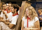 PAMPLONA, SPAIN - JULY 13: People await start of race of bulls a — Stock Photo