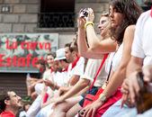 PAMPLONA, SPAIN - JULY 13: People await start of race of bulls a — Stock Photo