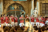 PAMPLONA, SPAIN-JULY 14: Brass Band at closing of San Fermin fes — Stock Photo