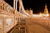 Spanish Square (Plaza de Espana) in Sevilla at night, Spain — Foto de Stock