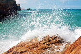Wave and splashes on beach of cathedrals in ribadeo, Galicia, Sp — Stock Photo