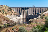 Dam on river Tajo, reservoir Jose Maria de Oriol, Alcantara, Spa — Stock Photo