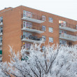 Apartment in snowy day — Stock Photo