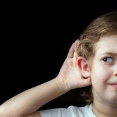 Trying to hear — Stock Photo