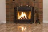 Fireplace in a new house — Stock Photo