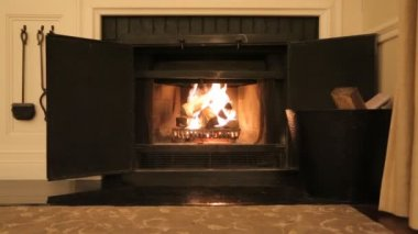 Fireplace interior — Vídeo de stock