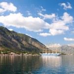 Tall ship in Boka Koroska bay, Montenegro, Europe — Stock Photo