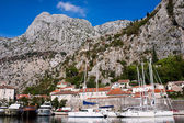 A lot of yachts in Kotor bay, Montenegro, Europe — Stock Photo