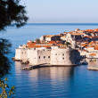 Overlooking city walls of old town of Dubrovnik, Croatia — Stock Photo