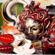 Venetian carnival masks in shop window - Stock Photo