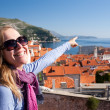 Tourist looking over Dubrovnik, Croatia — Stock Photo