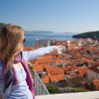 Young woman sightseeing, Dubrovnik, Croatia — Stock Photo #15360753