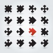 All Possible Shapes of Jigsaw Pieces — Imagen vectorial