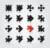 All Possible Shapes of Jigsaw Pieces — Vector de stock