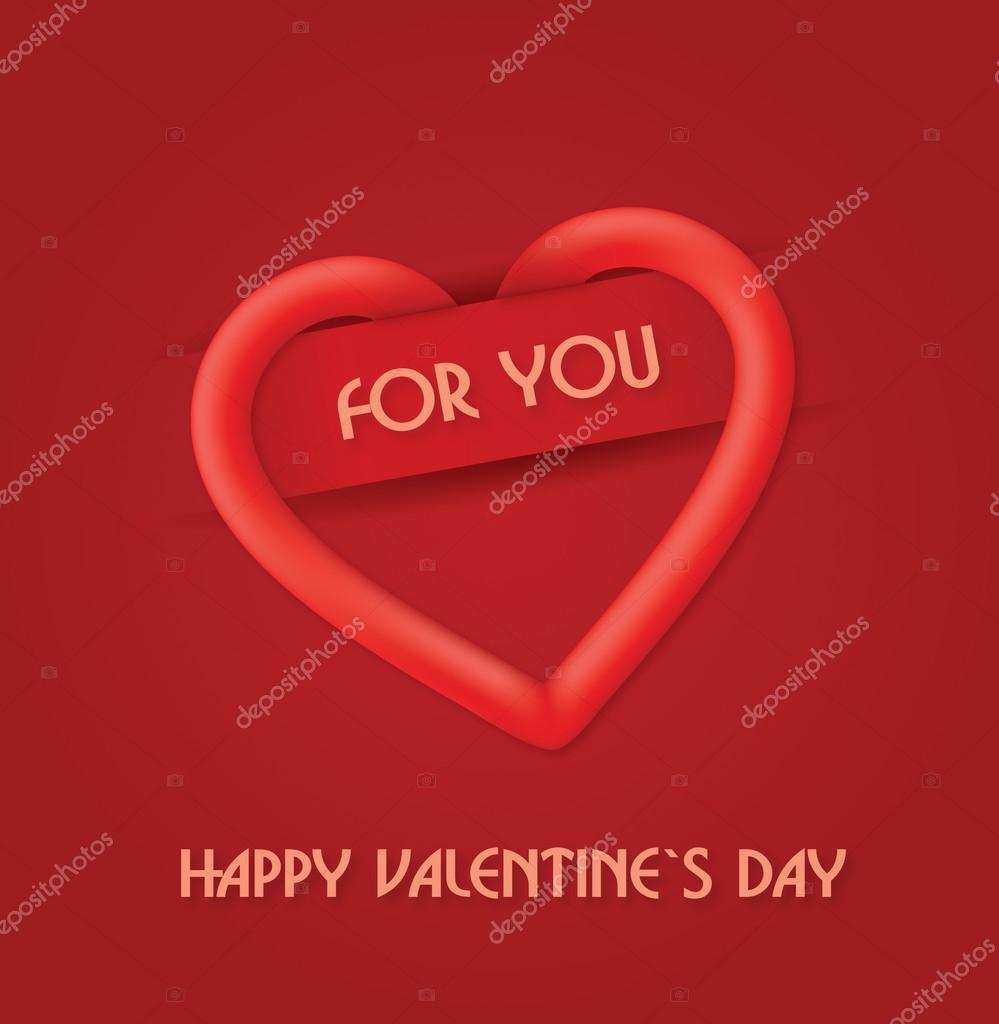 Red Happy Valentine`s Day greetings card. Easy to edit vector. — Vettoriali Stock  #18702367