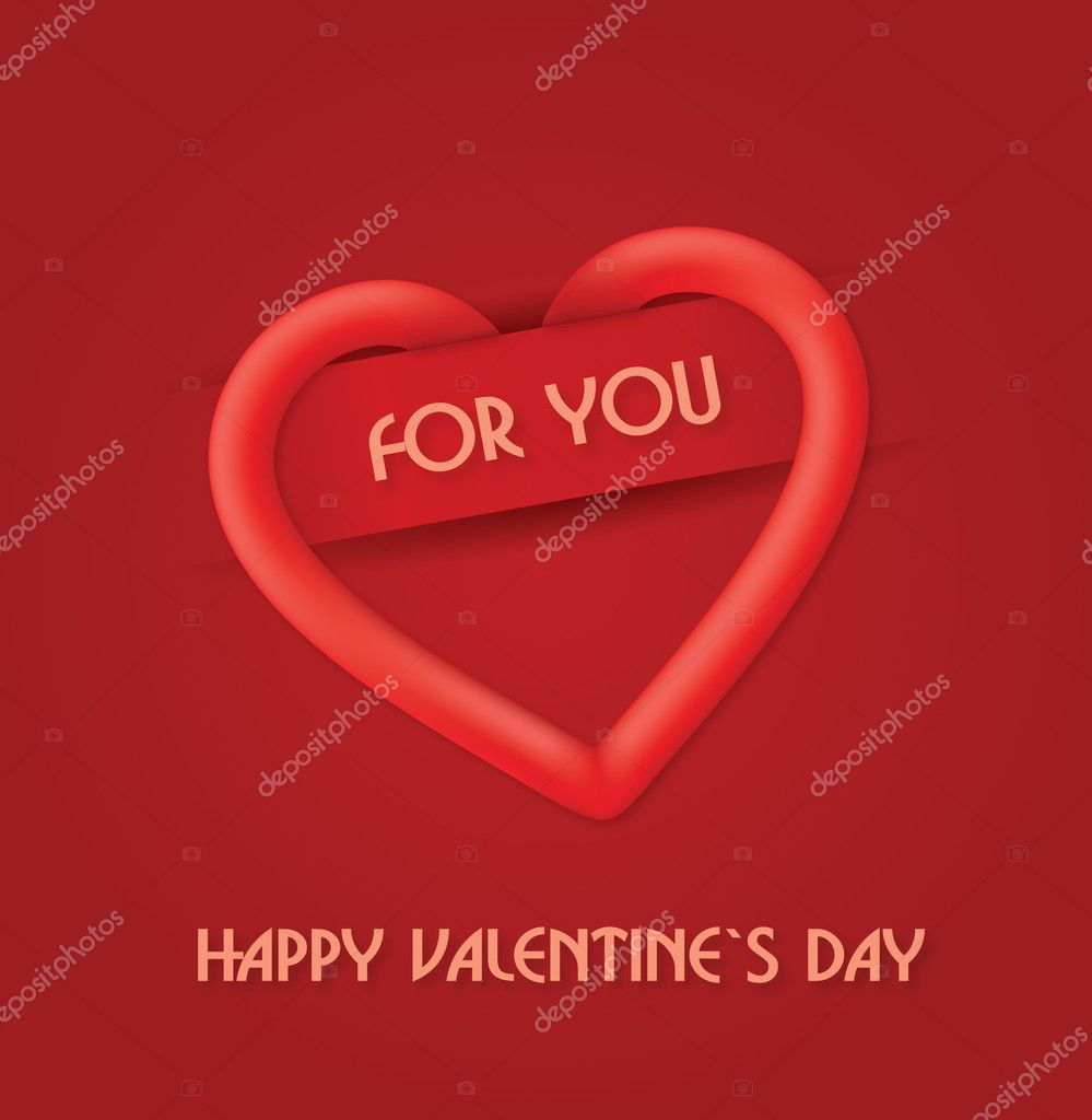 Red Happy Valentine`s Day greetings card. Easy to edit vector. — ベクター素材ストック #18702367