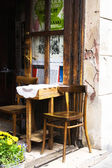 Krakow, Poland - July 13: table in a cafe on a street in Old Tow — Stock Photo