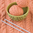 Two tangle with pink thread on the Turkish national dish and spokes — Stock Photo