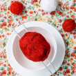 White plate, the spokes, red and white ball on the background of a red flower — Stock Photo