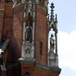 A fragment of an ancient church in Krakow, Poland — Stock Photo