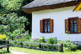 An old Ukrainian rural hut and flowerbed — Stock Photo
