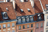 Detail of the restored old houses in the Warsaw, Poland — Foto Stock