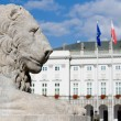 Sculpture of a lion near the Royal Palace in Warsaw, Poland. — Stock Photo