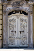 Beautiful carved white door in Wroclaw, Poland, Europe. — Stock Photo