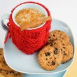 Blue cup with red knitted cover and cookies with chocolate — Stock Photo