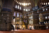 ISTANBUL - November, 21: Interior of the Sultan Ahmed Mosque on November 21, 2013 in Istanbul,Turkey. This is the biggest mosque in Istanbul of Sultan Ahmed is a great tourist attraction. — Stock Photo