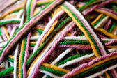 The multicolored yarn used for knitting clothes — Stock Photo