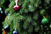 Beautiful color christmas decorations hanging on christmas tree — Foto de Stock