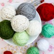 Lot of bright balls of knitting on background — Stock Photo #38665289