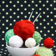 Lot of bright balls for knitting on dark background — Stock Photo #38665299