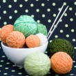 Lot of bright balls for knitting on dark background — Stock Photo #38665305