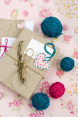 Old notebook with a dry branch of rosemary for love notes — Foto de Stock