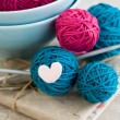 Bright balls of yarn in blue plates — Stock Photo #39569185