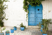 Blue doors, window and white wall of building in Sidi Bou Said, Tunisia — Stock Photo
