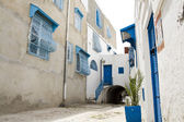 Blue doors, window and white wall of building in Sidi Bou Said, Tunisia — 图库照片